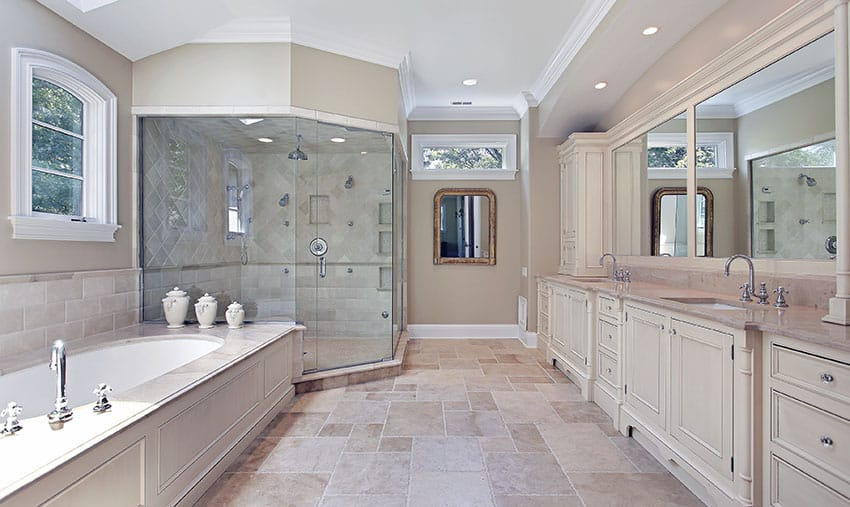 Luxury bathroom with large neo angle shower