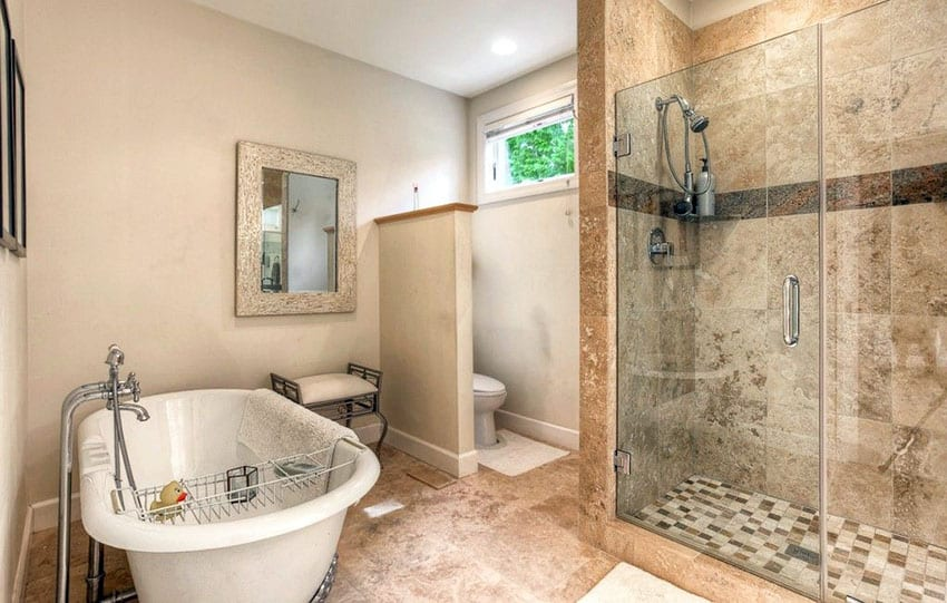 Master bathroom with pivot hinge shower door and freestanding tub
