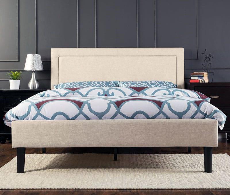 Queen platform bed in taupe color