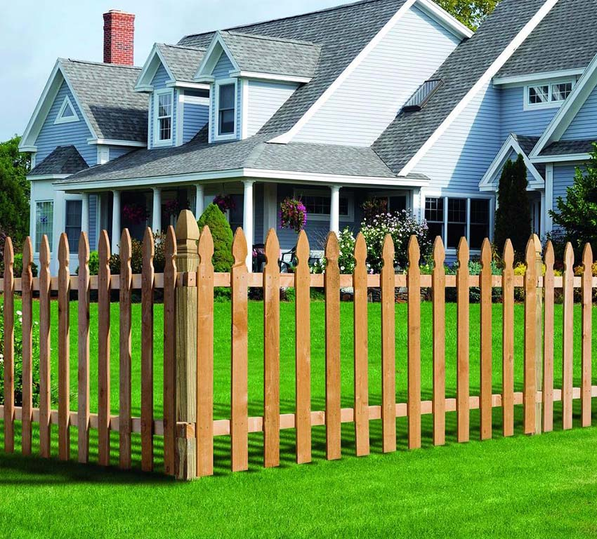 Red cedar french gothic picket fence