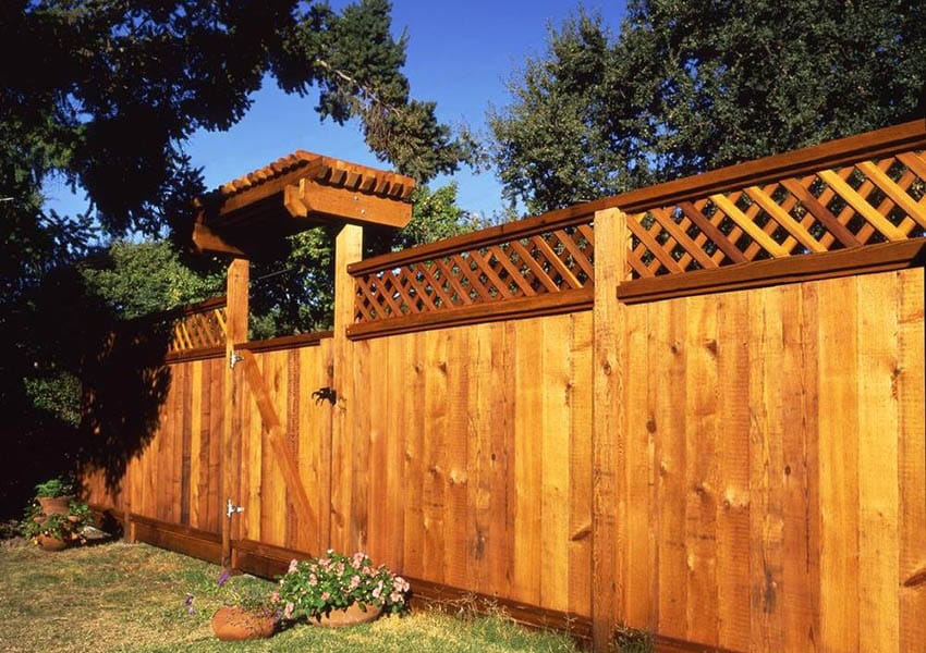 Redwood lattice fence with gate