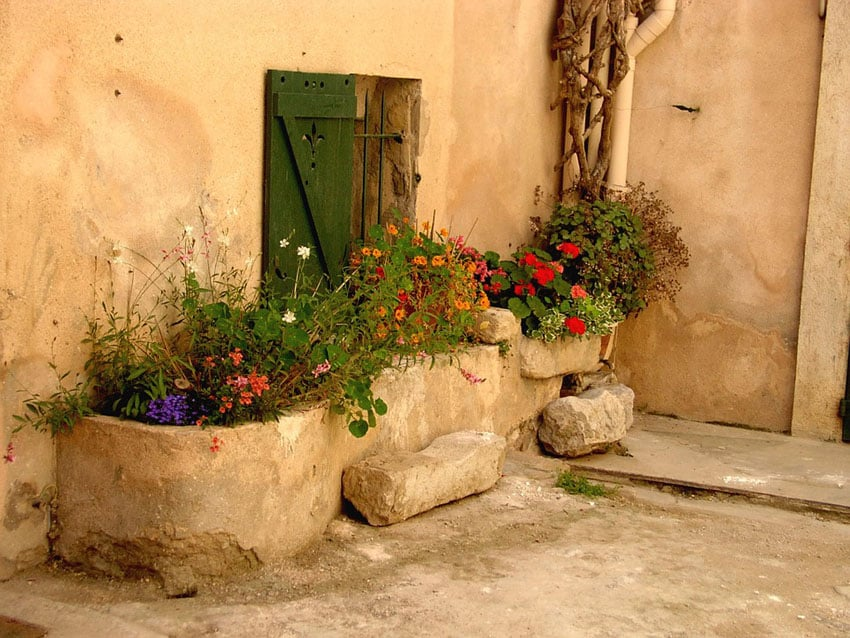 Rustic cement flower boxes in courtyard patio