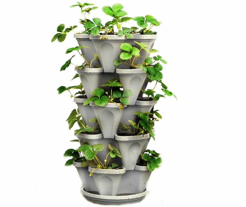 Stackable vertical vegetable fruit flower planter