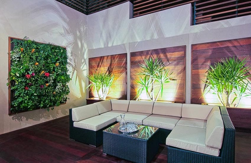 Stylish patio with vertical wall garden
