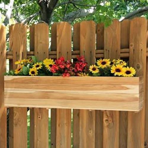 Teak fence planter flower box