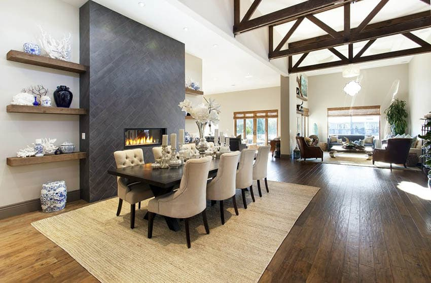 Transitional dining room living room with hand scraped wood floors