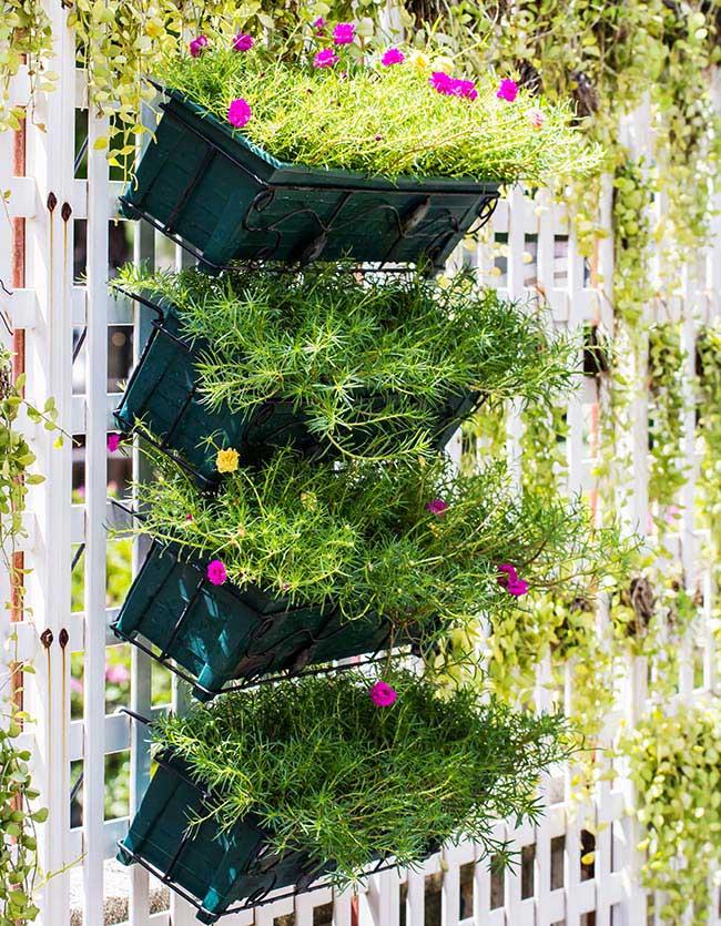 Trellis with vertical garden planters