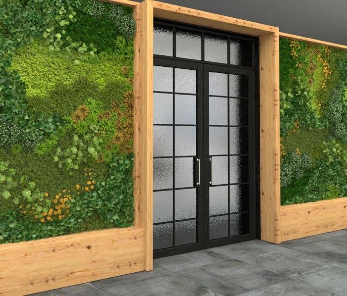 Vertical garden interior with walls of plants