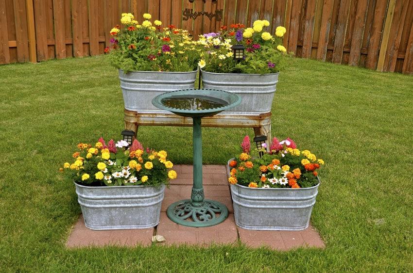 Washtub flower planter box
