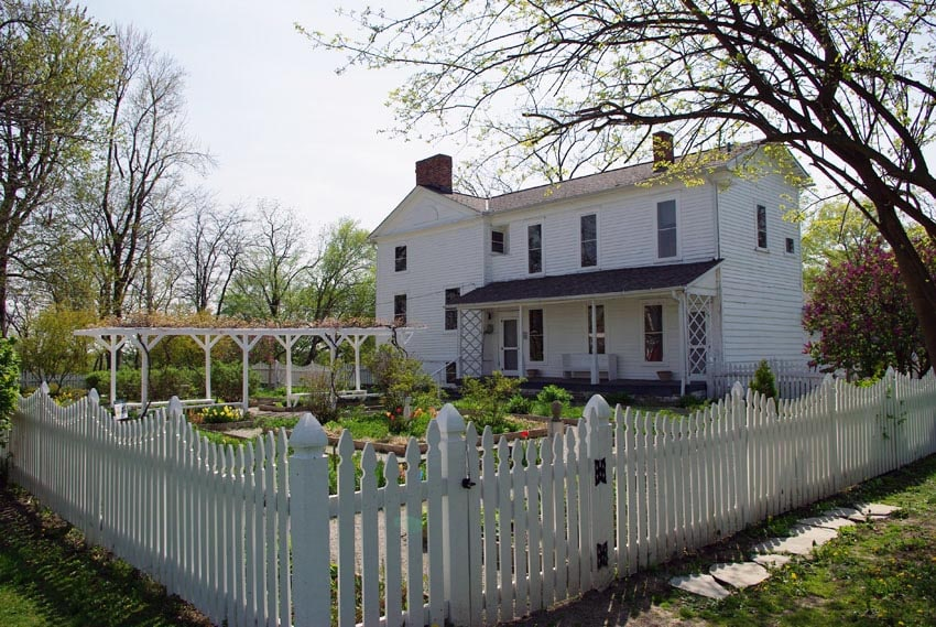 White picket fence with gate