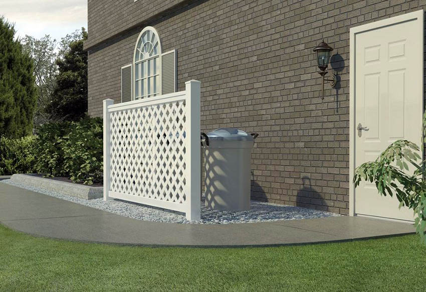 White plastic lattice fence for trash cans