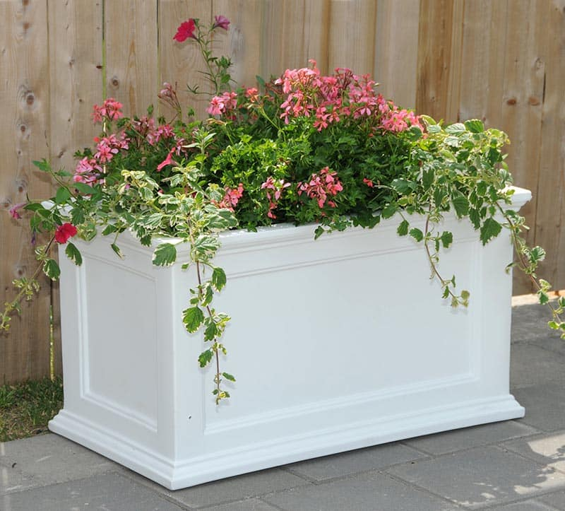 White plastic planter flower box