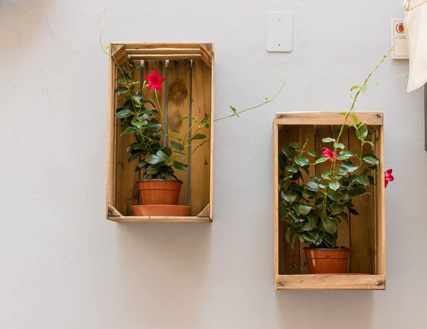 Wood crate hanging flower boxes