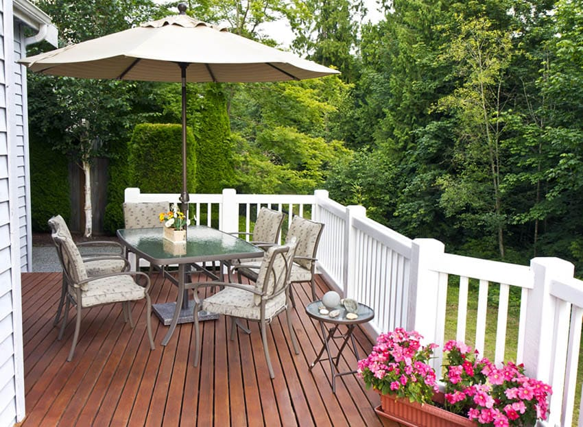Wood deck with plastic flower box