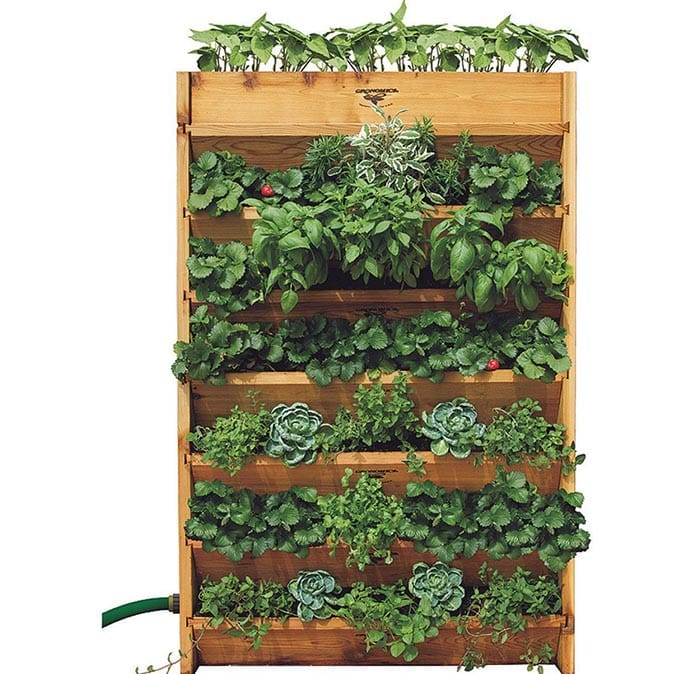 Wood vertical wall planter