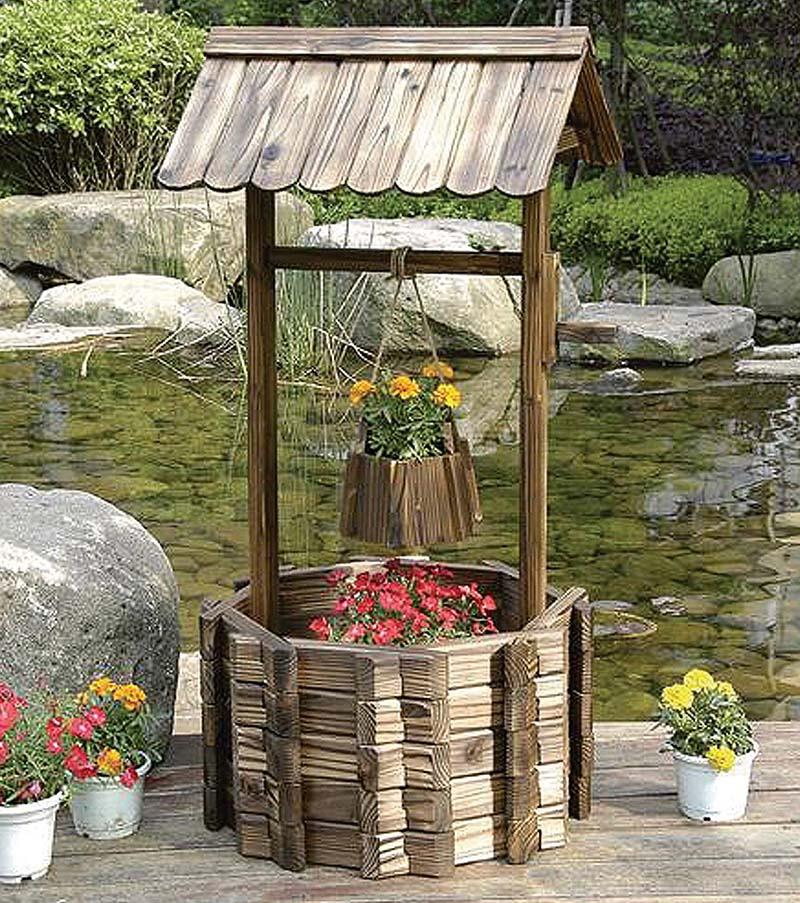 Wood wishing will flower box planter