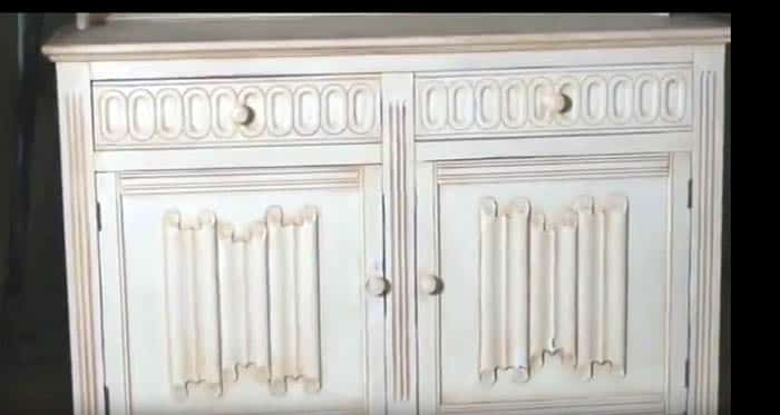 Applying antique distressed look to old painted cabinet