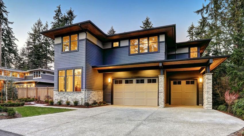 Blue house sandstone garage door