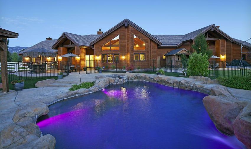 Dark blue lagoon pool with mood lighting