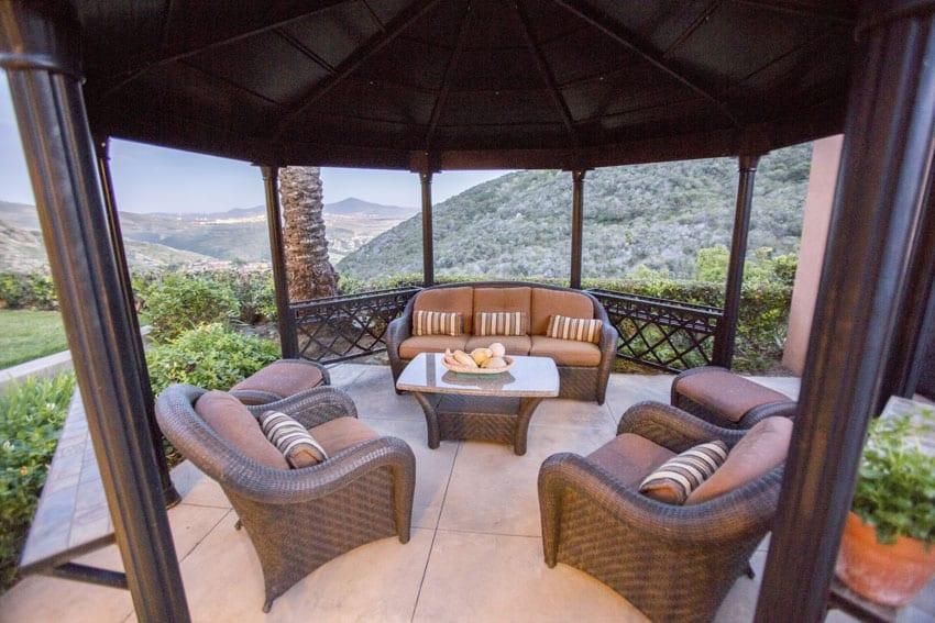 Gazebo patio with hillside views