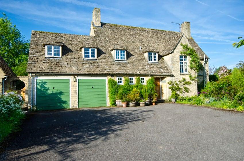 Green garage doors house