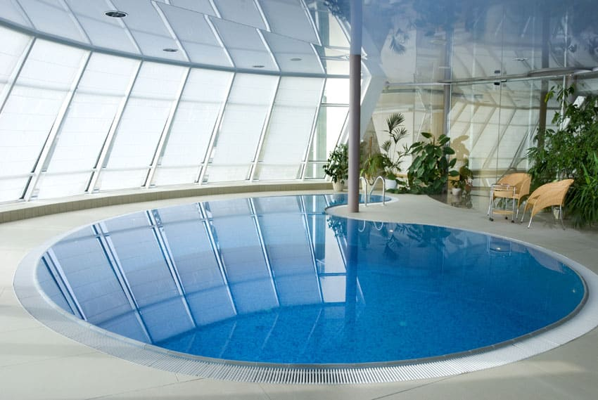 Indoor kidney shaped pool