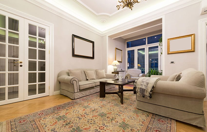 Interior french doors in living room