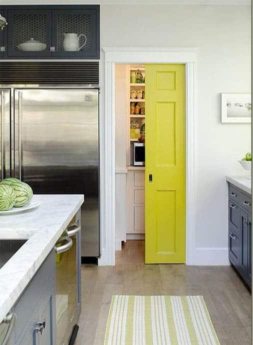 Interior pocket door in kitchen