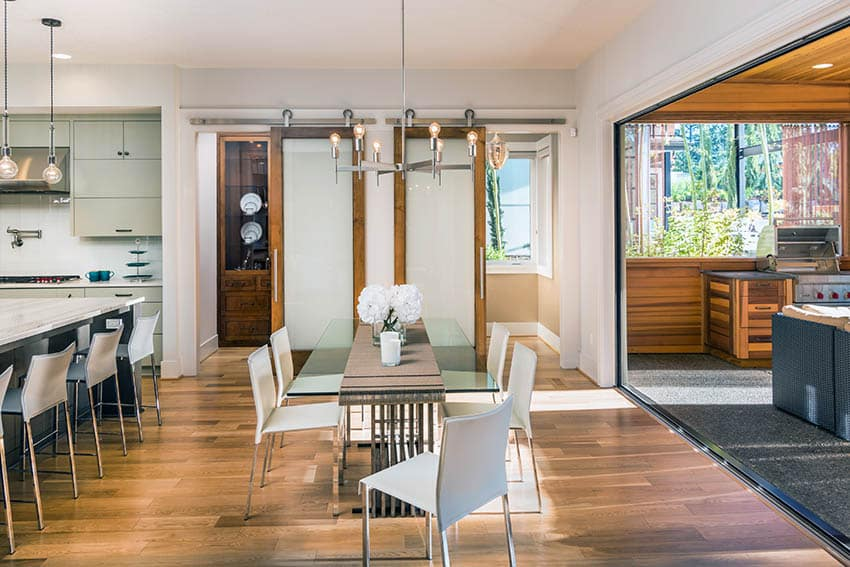 Interior sliding barn door in dining room with frosted glass
