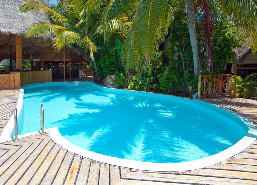 Kidney shaped swimming pool with deck