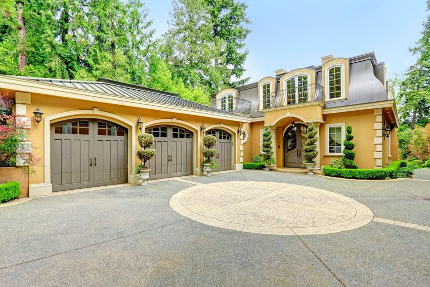 Light brown garage door house
