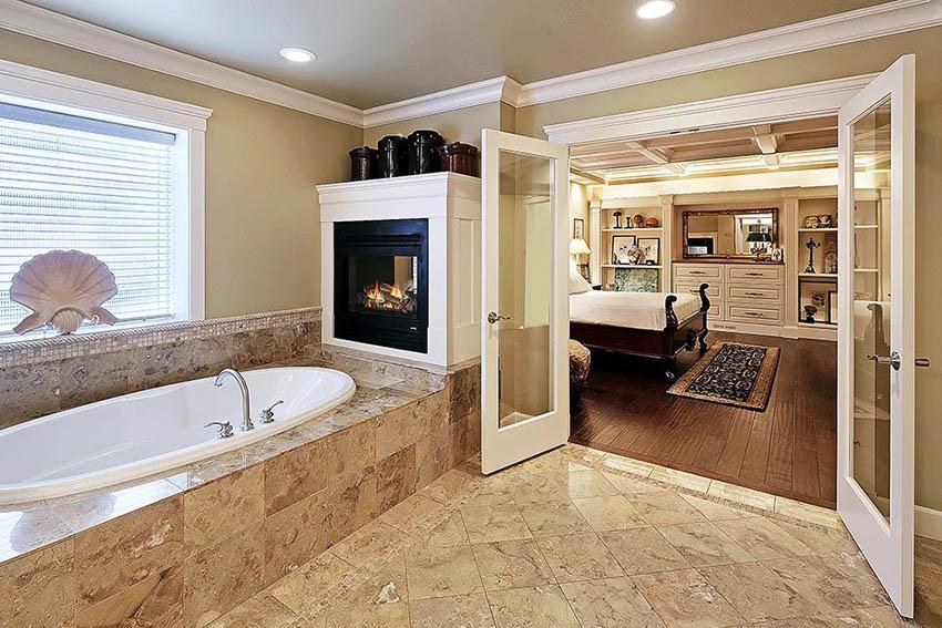 Master bathroom with glass double doors