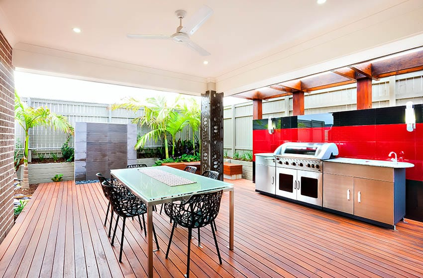 Modern covered patio deck with outdoor kitchen