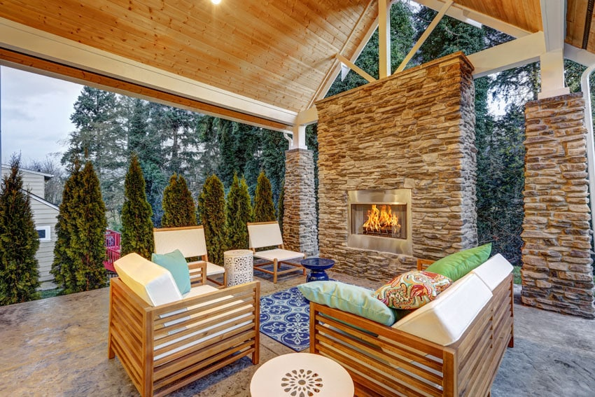 Modern covered patio with vaulted ceiling and fireplace