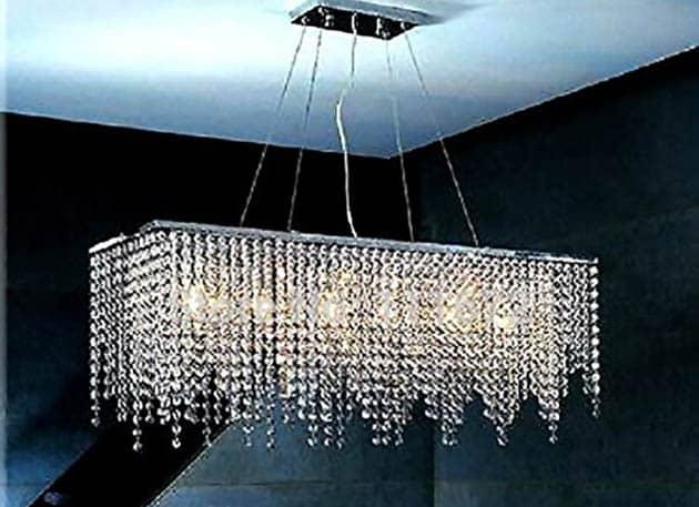Modern rectangular chandelier light fixture