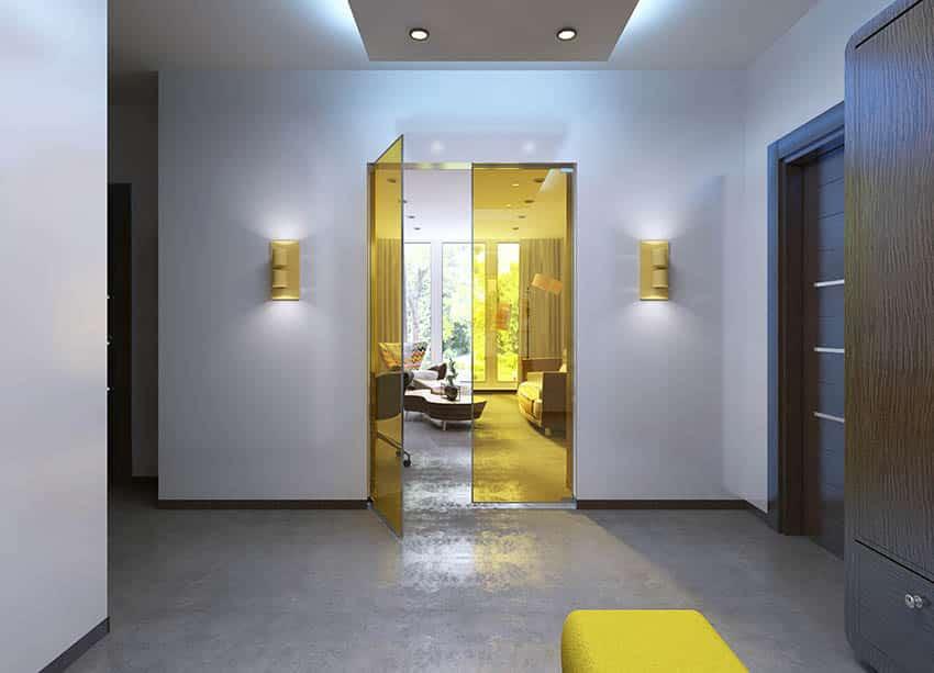 Modern yellow glass interior double door