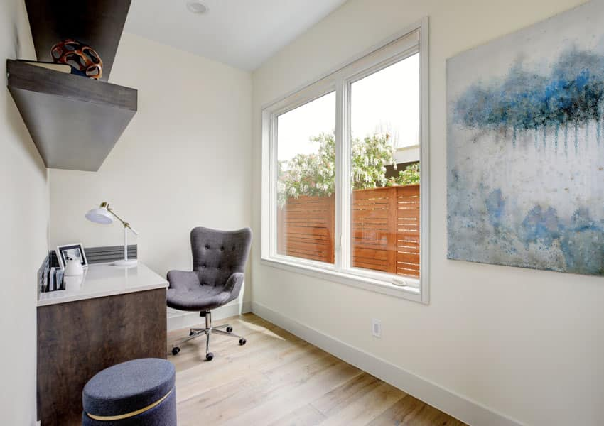 Small home office with large window