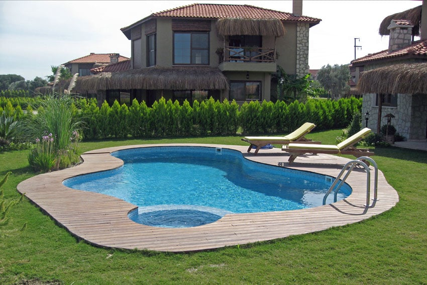 Small modern swimming pool with curved edges