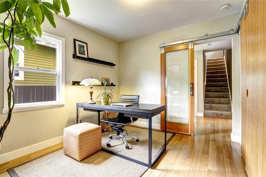 Small office with sliding barn door