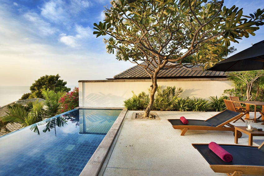 Small rectangular swimming pool with infinity design