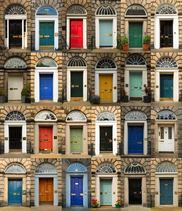 Variety of door colors in row houses