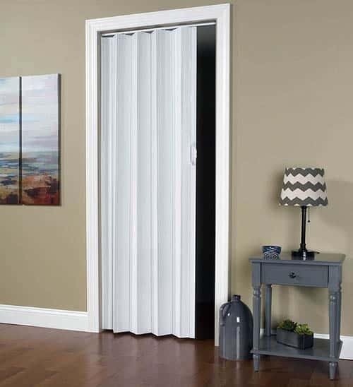 White accordion door in vinyl