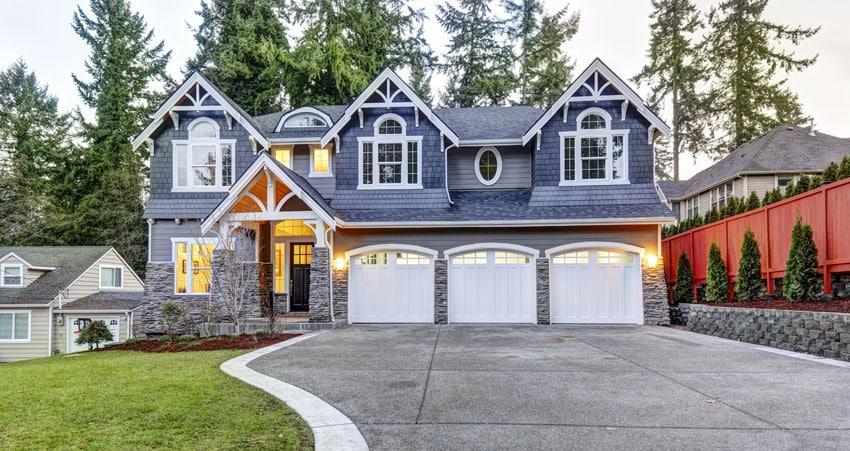 White garage door house