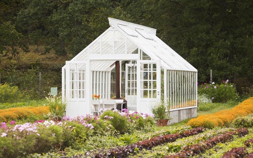Beautiful white garden greenhouse