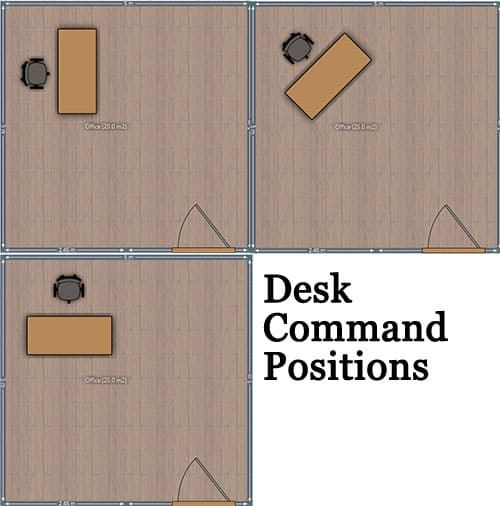 Office desk command positions
