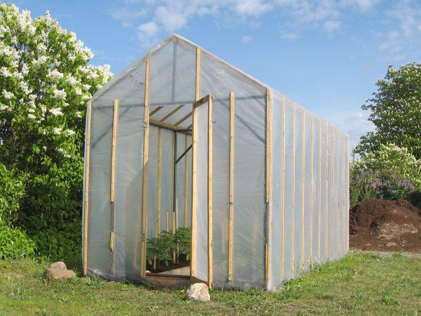DIY plastic greenhouse for backyard garden