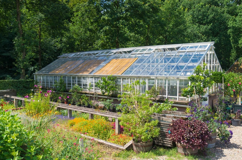 Glass greenhouse in garden