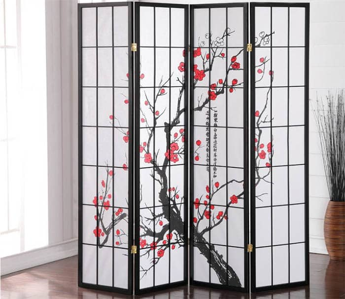 Japanese room divider with plum blossom design