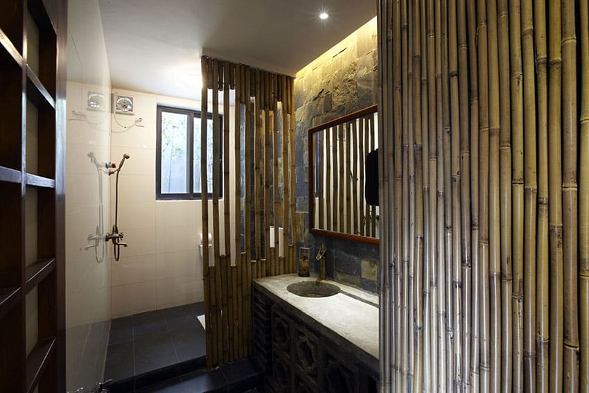 Japanese style bathroom with bamboo wall decor