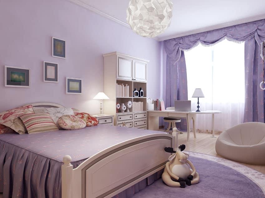 Light purple teenage girl bedroom